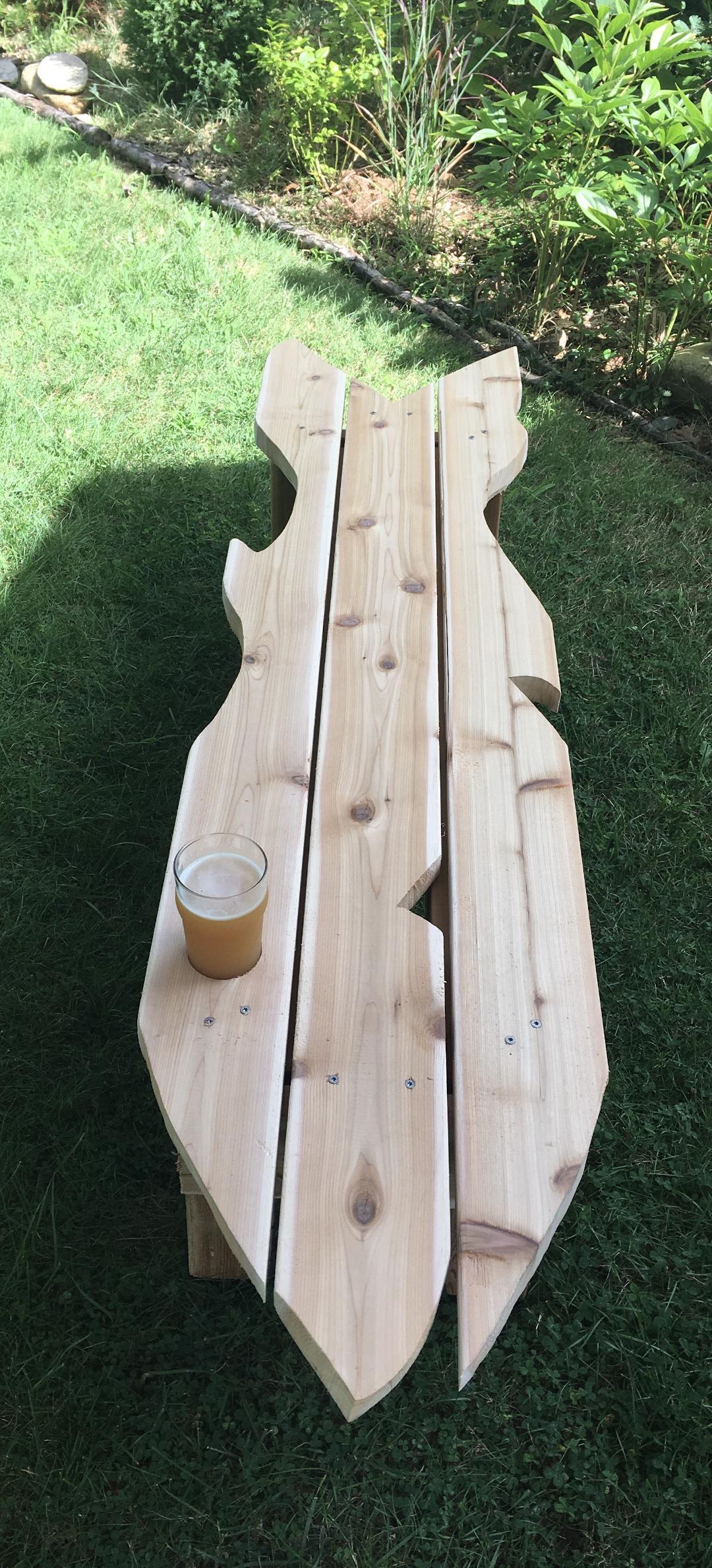 fish-shaped garden bench