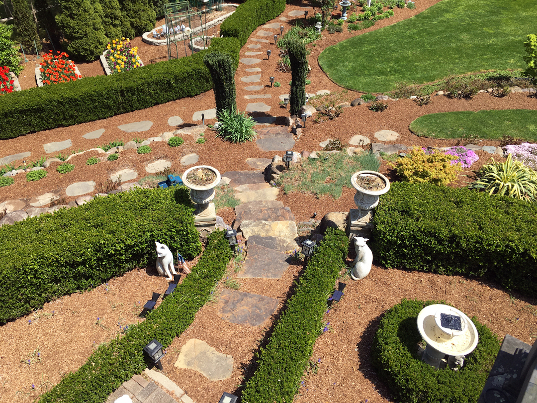 looking at garden paths from above