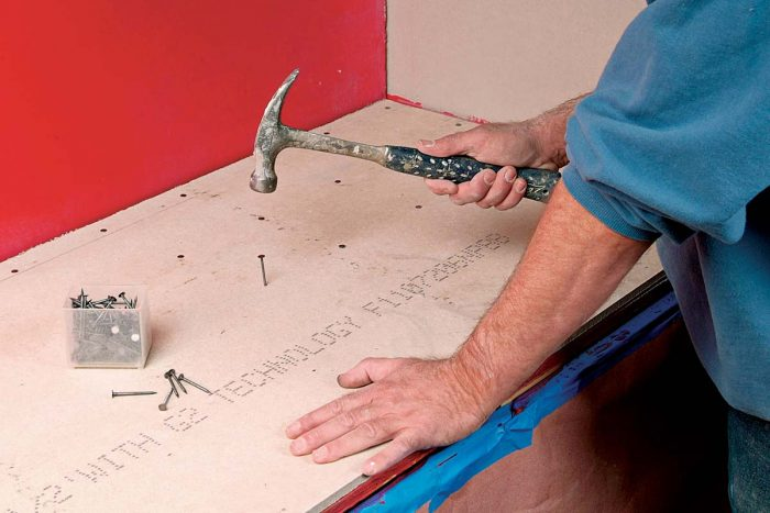 Backerboard can be nailed or screwed into plywood or studs.