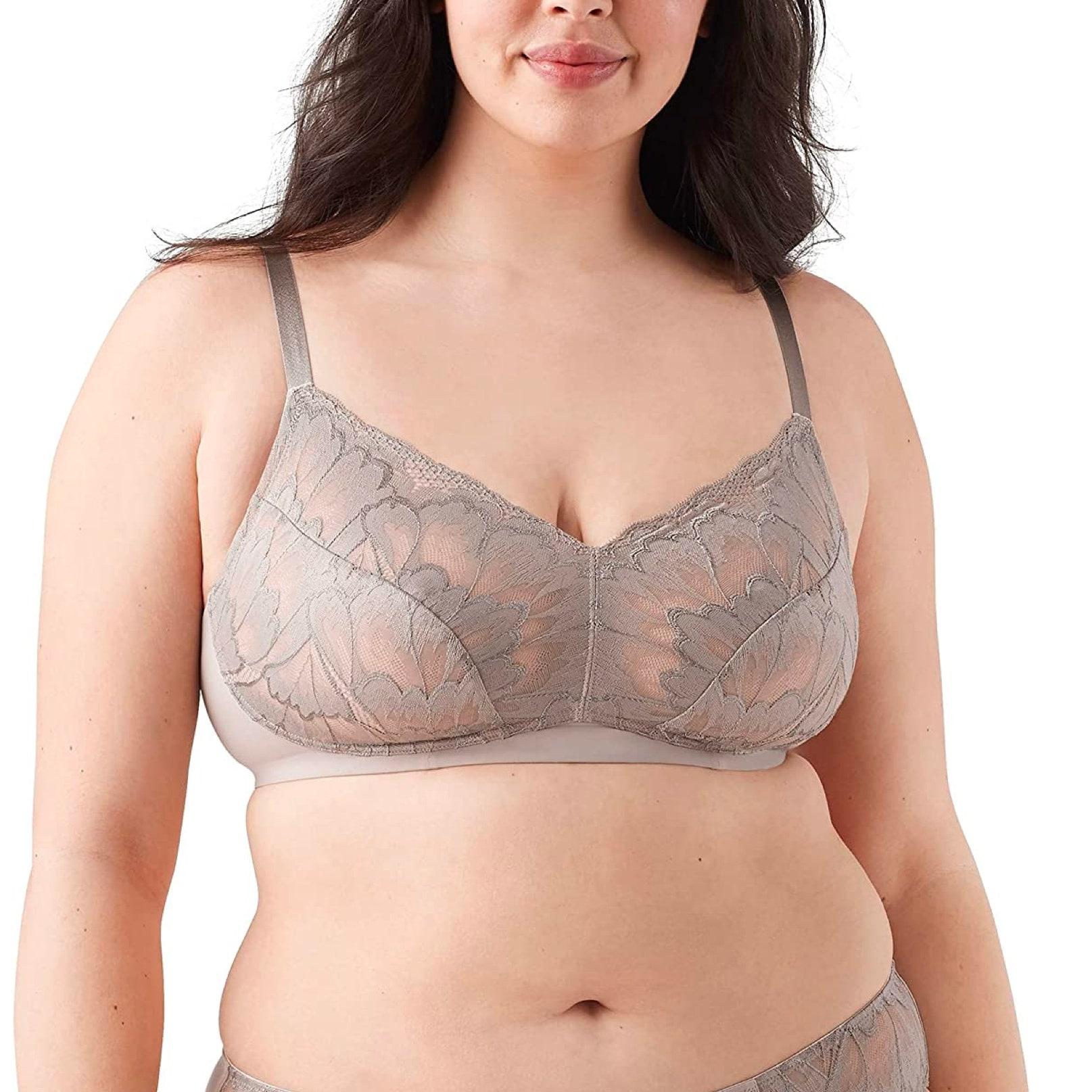 model wearing lace bra