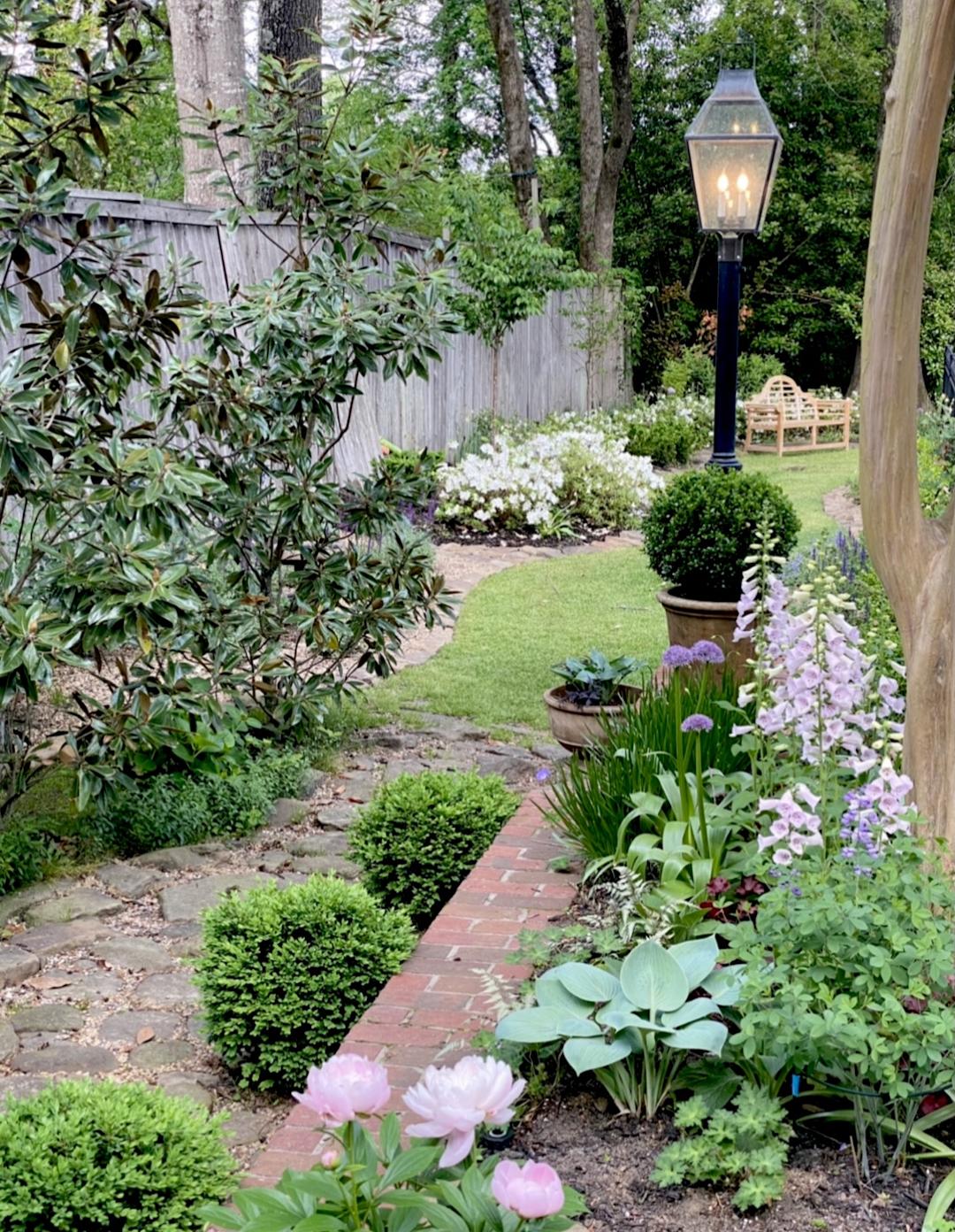 light post in a garden